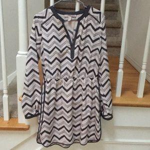Pink and grey chevron dress